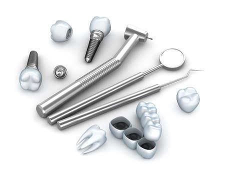 dientes con caries: Dientes, implantes, e instrumentos dentales Foto de archivo