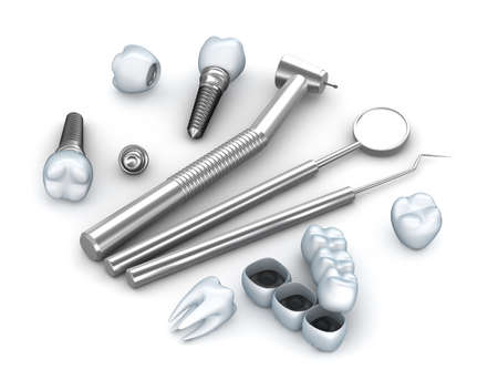 Teeth, implants, and dental instruments photo