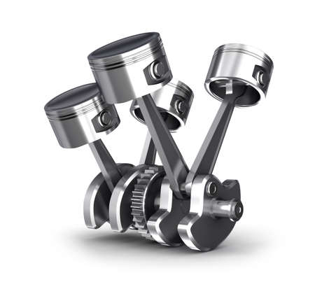 piston rod: Engine pistons and cog  3D image