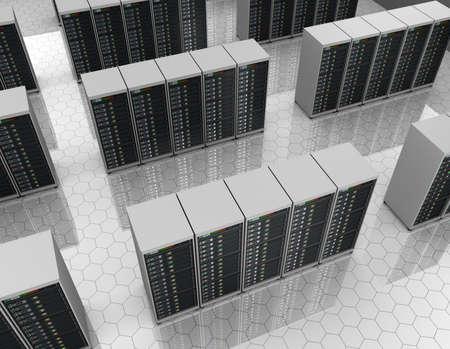 renderfarm: Server room Stock Photo
