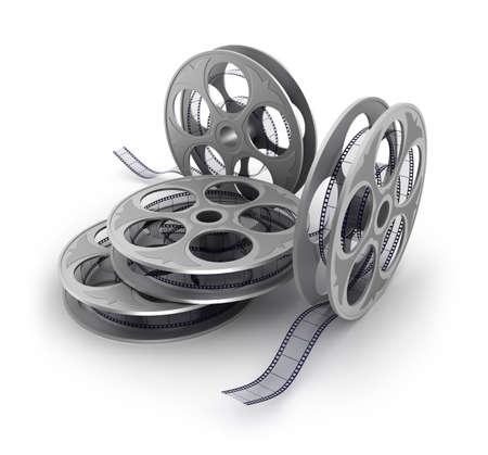 celluloid film: Old film strip on white background