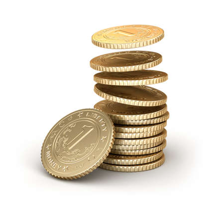 Golden coins falling in pile isolated on white Stock Photo - 20586727