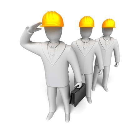 salut: Arbetslag redo att arbeta, 3D människan