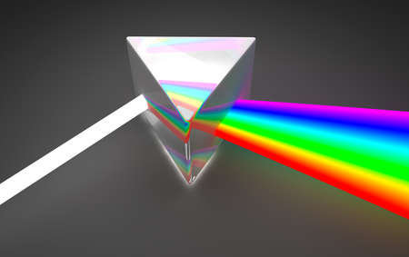 dispersion: Prism light spectrum dispersion  On dark background Stock Photo