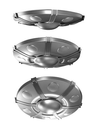 visitors area: Set of flying saucer isolated on white