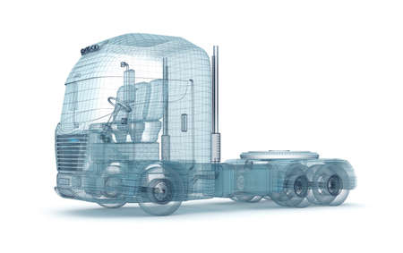 lorry: Mesh truck isolated on white  My own design Stock Photo