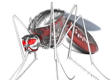shadowing: Mosquito  Robot bloodsucker  Isolated on white  Stock Photo