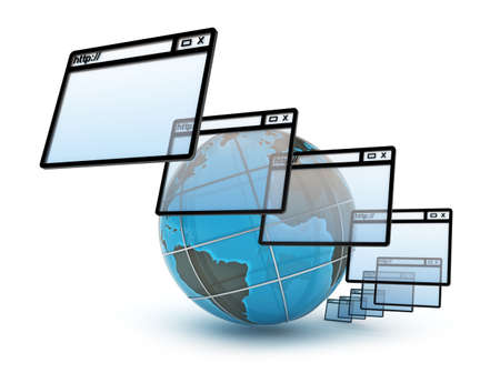 url virtual: Internet concept on white background Stock Photo