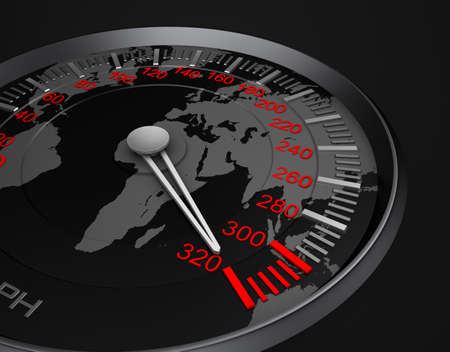 Speedometer and world map photo