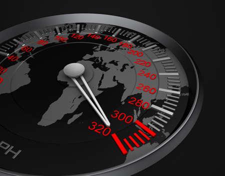 speedometer: Speedometer and world map Stock Photo
