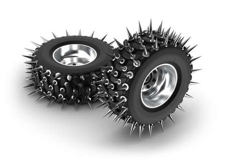 spiked: Spiked tires Stock Photo