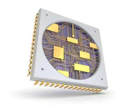 CPU Comuter chip, inside view Stock Photo - 23860774