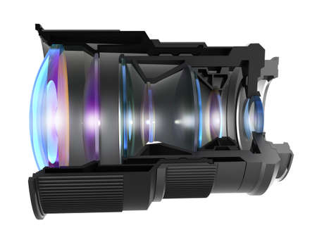 Sectional camera lens, isolated