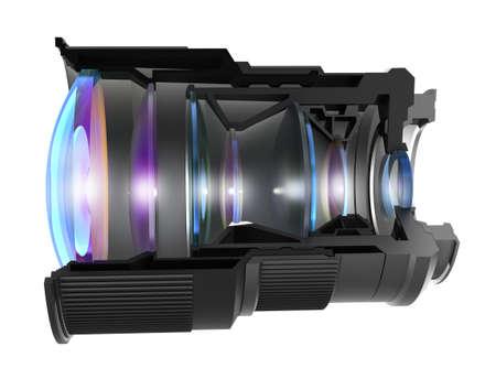 Sectional Kameraobjektiv, isoliert Standard-Bild - 23860775