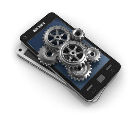 web application: Mobile phone and gears  Application development concept