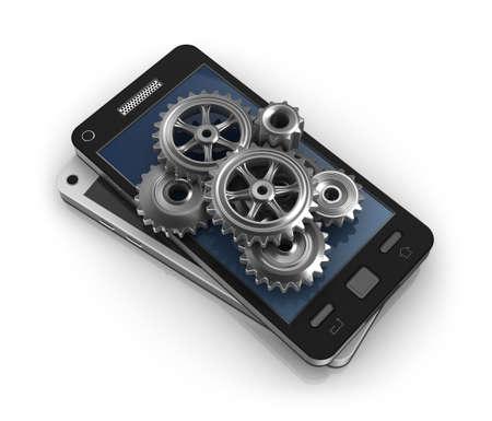 web developer: Mobile phone and gears  Application development concept