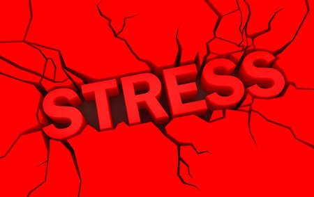 psychologic: word stress in red color with cracks over
