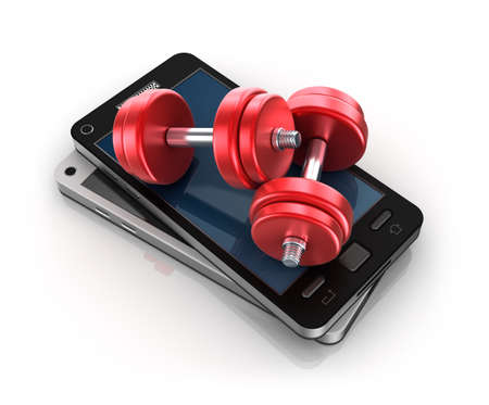 Mobile phone and Dumbbells , 3D concept photo