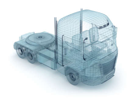 wire mesh: Mesh truck isolated on white  My own design Stock Photo