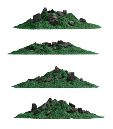 Tropical mountain set , isolated Stock Photo
