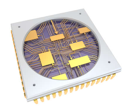 semiconductors: CPU Comuter chip, inside view  isolated