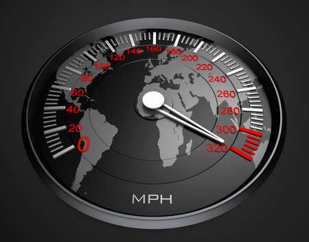 speedometer: Speedometer and world map, background Stock Photo