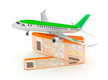 Airplane boarding pass tickets concept photo