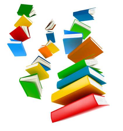 libros volando: Libros que vuelan aislados en blanco