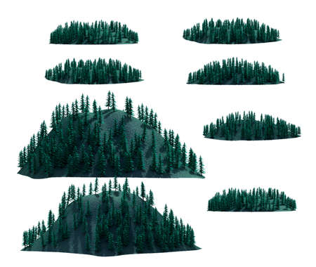 rocky mountain: mountain forest set , isolated