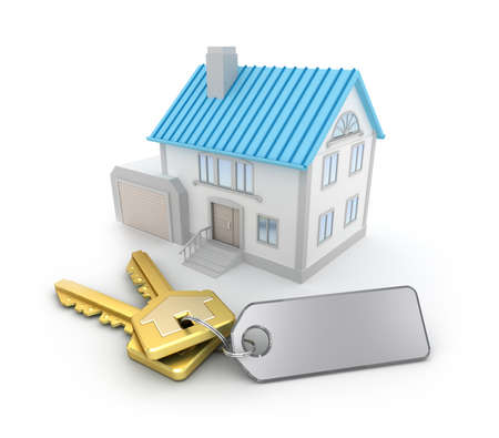 house prices: House and the keys with an empty thumb Stock Photo