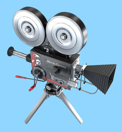 Old style movie camera , isolated photo