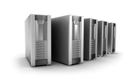 web hosting: Row of network servers over white