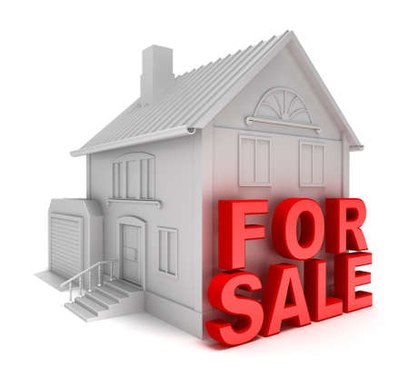 forsale: Home for sale. 3D concept isolated on white