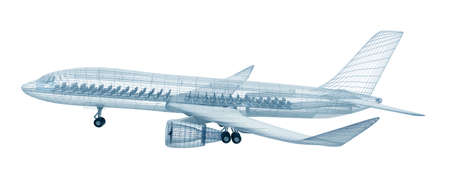 dibujo tecnico: Aeroplano modelo de alambre, aislado en blanco. Mi propio diseño