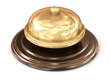 summon: Golden bell over white