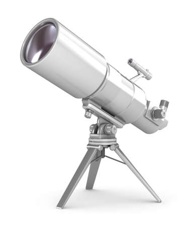 refracting: Telescope on support over wite Stock Photo