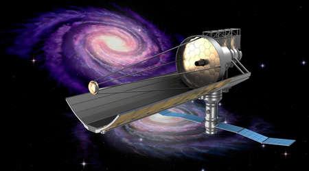 refracting: Space telescope in orbit. My own design. Stock Photo