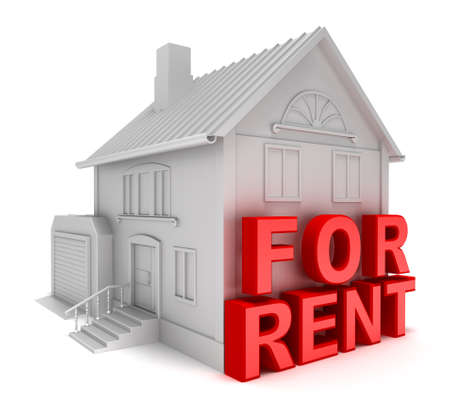 forsale: Home for rent. 3D concept isolated on white