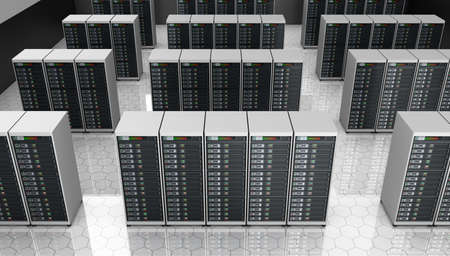 server farm: Server room in datacenter , clusters