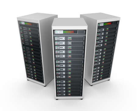 connecting: Network servers in data center isolated on white