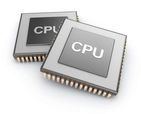 Cpu chips over white background photo