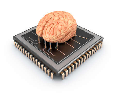 chip and pin: Human brain and computer chip, 3D concept