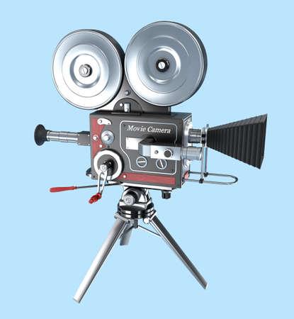 film history: Retro style movie camera Stock Photo