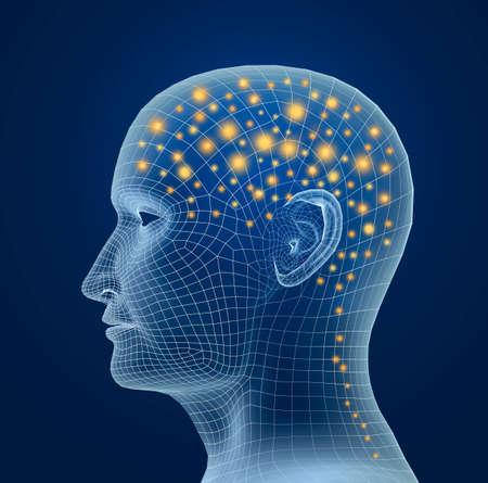 Gehirn und Impulse. Prozess des menschlichen Denkens Standard-Bild