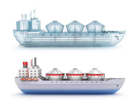 tanker ship: Oil tanker ship and wire model