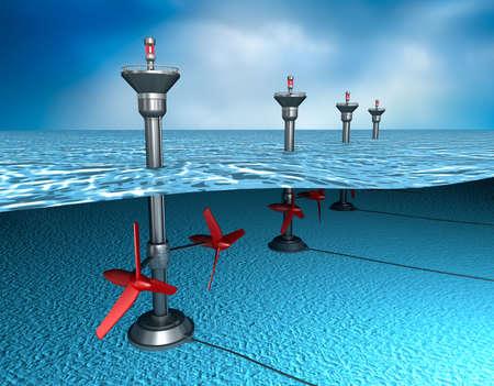 Gezeitenenergie: Generator im Ozean Standard-Bild - 39984336