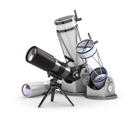 discovering: Telescope set on white background Stock Photo