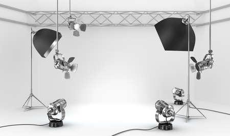 Empty photo studio with interior equipment 스톡 콘텐츠