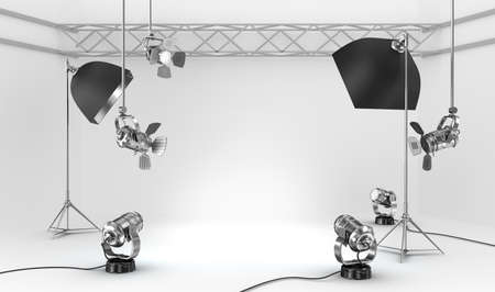 reflectors: Empty photo studio with interior equipment Stock Photo