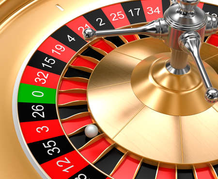 roulette wheel: A closeup view of casino roulette